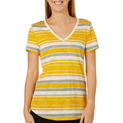 Dept 222 Womens Horizontal Striped V-Neck Short Sleeve Top