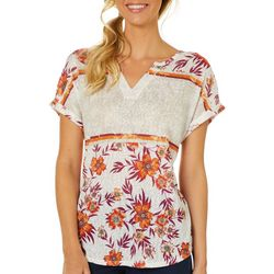 Dept 222 Womens Boho Bloom Floral Print Short Sleeve Top