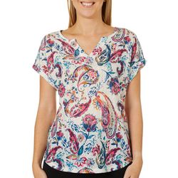 Dept 222 Womens Floral Paisley Print Notch Neck Top