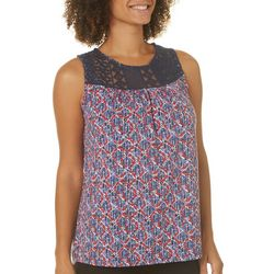 Dept 222 Womens Americana Lace Sleeveless Top