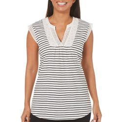 Dept 222 Womens Striped Lace Trim Top