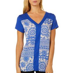Dept 222 Womens Geometric Floral Print Cap Sleeve Top