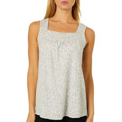 Dept 222 Womens Animal Print Square Neck Sleeveless Top