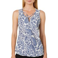 Dept 222 Womens Faux-Wrap Paisley Crisscross Sleeveless Top
