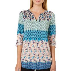 Dept 222 Womens Floral Geometric Block Print Roll Tab Top