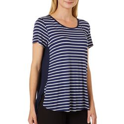 Dept 222 Womens Striped Front Short Sleeve Top