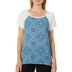 Dept 222 Womens Geometric Paisley Print Raglan Top