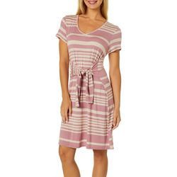 Dept 222 Womens Striped Tie Waist T-Shirt Dress