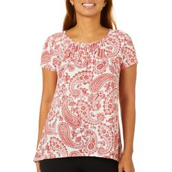 Dept 222 Womens Paisley Smocked Neckline Short Sleeve Top