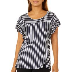 Dept 222 Womens Mixed Stripe Cap Sleeve Top