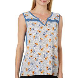 Dept 222 Womens Floral Dot Print Sleeveless Top