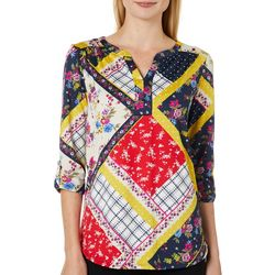Dept 222 Womens Mixed Floral Print Roll Tab Top