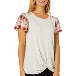 Dept 222 WomensSolid Plaid Sleeve Twist Front Top
