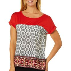 Dept 222 Womens Colorblock Geometric Border Print Top
