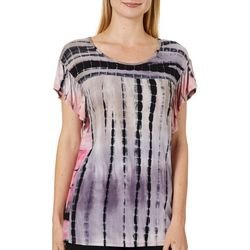 Dept 222 Womens Tie Dye Ruffle Sleeve Top