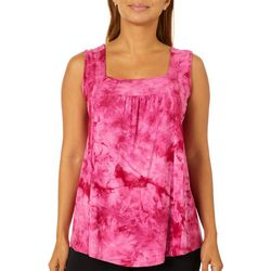 Dept 222 Womens Ribbed Tie Dye Square Neck Sleeveless Top