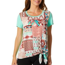 Dept 222 Womens Mixed Geometric Print Short Sleeve Top