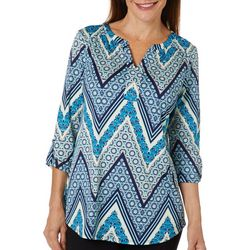 Dept 222 Womens Mixed Floral Chevron Roll Tab Top