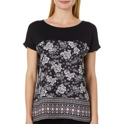Dept 222 Womens Mixed Floral Chest Pocket Short Sleeve Top