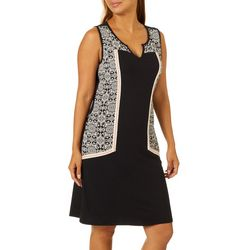 Dept 222 Womens Colorblock Floral Panel Sleeveless Dress