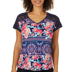 Dept 222 Womens Mixed Floral Print Short Sleeve Top
