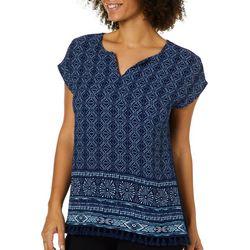 Dept 222 Womens Geometric Short Sleeve Tassel Hem Top