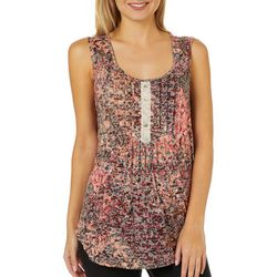 Dept 222 Womens Burnout Floral Pleated Sleeveless Top