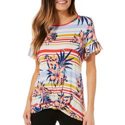 Dept 222 Womens Striped Tropical Twist Front Top