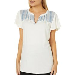 Dept 222 Womens Striped Yoke Flutter Sleeve Top