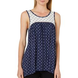 Dept 222 Womens Floral Medallion Crochet Sleeveless Top