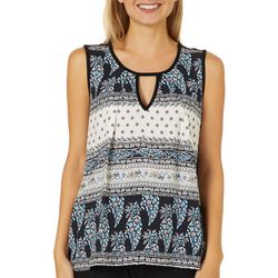 Dept 222 Womens Mixed Floral Keyhole Top