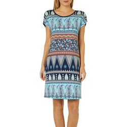 Dept 222 Womens Mixed Paisley Short Sleeve Sundress