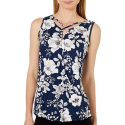 Dept 222 Womens Floral Print V-Neck Top