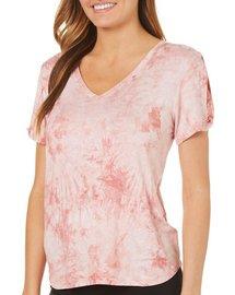 128f5a1708fa4 Dept 222 Womens Tie Dye Slit Sleeve T-Shirt
