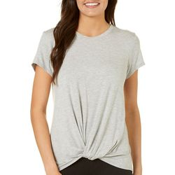 Dept 222 Womens Solid Front Knot T-Shirt
