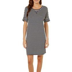 Dept 222 Womens Striped T-Shirt Dress