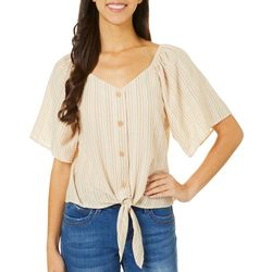 Dept 222 Womens Striped Button Down Front Tie Top