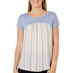 Dept 222 Womens Striped Print Mixed Media Short Sleeve Top