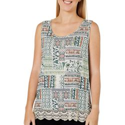 Dept 222 Womens Mixed Geometric Lace Trim Sleeveless Top