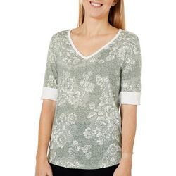 Dept 222 Womens Muted Floral Print Elbow Sleeve