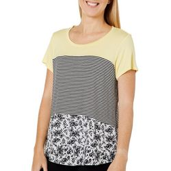 Dept 222 Womens Floral Stripe Colorblock Top