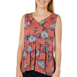 Dept 222 Womens Floral V-Neck Sleeveless Top
