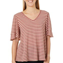 Dept 222 Womens Horizontal Stripe Ruffle Sleeve Top