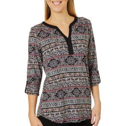 Dept 222 Womens Mixed Floral Print Henley Top