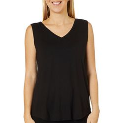 Dept 222 Womens Solid Lace Detail Sleeveless Top