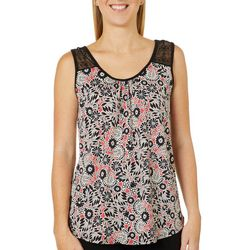 Dept 222 Womens Floral Print Crochet Detail Sleeveless Top