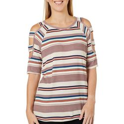 Dept 222 Womens Striped Lattice Sleeve Round Neck