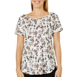 Dept 222 Womens Floral Paisley Print Short Sleeve Top