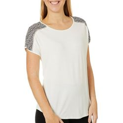 Dept 222 Womens Geometric Panel Mixed Media Short Sleeve Top