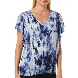 Dept 222 Womens Ruffle Tie Dye Cap Sleeve Top